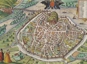 Franz Hogenberg: «Mapa de Avignon», en Civitates Orbis Terrarum, ca. 1575. George Braun & Frans Hogenberg, Zúrich.